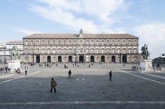 Plebiscito quadrato con la campania Italia Europa di Napoli del palazzo reale Fotografie Stock