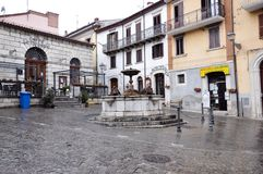 Agnone medieval village in Italy. Plebiscito square in the historic center of the medieval village of Agnone. Molise region, central south Italy royalty free stock photography