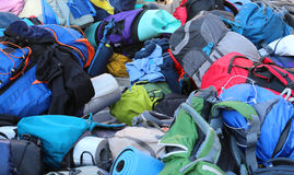 plecak i torby boyscout po obozu letniego zdjęcia stock