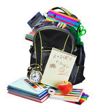 Plecak pełno szkolne dostawy na bielu fotografia stock