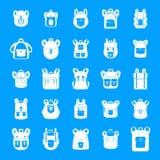 Plecak szkoły podróży sporta ikony ustawiają, prosty styl ilustracji