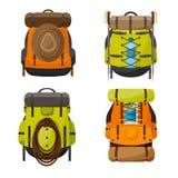 Plecak w płaskim stzle również zwrócić corel ilustracji wektora tła torby błękitny latanie opuszczać klon szkoły Podróż, camping  Zdjęcie Royalty Free