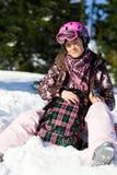 plecaka dziewczyny ja target594_0_ Zdjęcia Stock