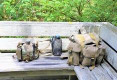 Plecaka survavl zestawu turystyki rzeczy Zdjęcia Stock