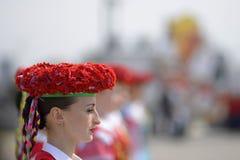 Plechtige ceremonie van het hijsen van de vlaggen vóór het Kampioenschap van het Wereldhockey stock afbeelding