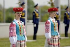 Plechtige ceremonie van het hijsen van de vlaggen vóór het Kampioenschap van het Wereldhockey stock foto