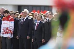Plechtige ceremonie van het hijsen van de vlaggen vóór het Kampioenschap van het Wereldhockey stock fotografie