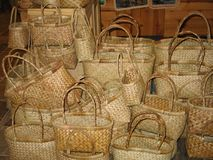 Plecionkarskie torby Zdjęcia Stock