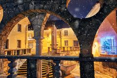 Plecnik`s staircase, arcade and fountain in Kranj, Slovenia, Europe. Plecnik`s staircase, fountain and arcades in winter time Royalty Free Stock Photography
