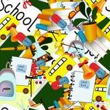 Plecy Szkolny bezszwowy wz?r attern powitanie z powrotem szkoła z nowożytnym cienieje kreskowych ikon szkolne dostawy tylna szko? ilustracji
