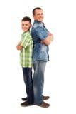 Plecy z powrotem ojciec i syna pozycja zdjęcie royalty free