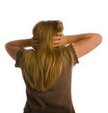 plecy zakrywał obracającej ucho dziewczyny Zdjęcia Stock
