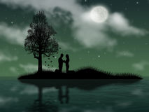 Pledge of allegiance. Enamoured pair brings pledge of allegiance on island in the night Stock Photography