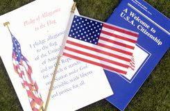 The Pledge of Allegiance with American Flag, Los Angeles, California Stock Image