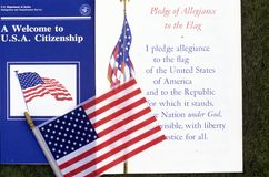 The Pledge of Allegiance with American Flag, Los Angeles, California Royalty Free Stock Images