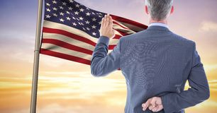 Pledge allegiance to the flag with the fingers crossed Royalty Free Stock Images