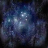 Pleiades (επτά αδελφές) στο Taurus αστερισμό Στοκ Φωτογραφία