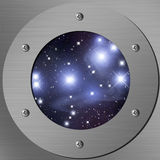 Pleiades. Porthole with a nightly sky and Pleiades Royalty Free Stock Photos