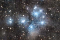 The Pleiades cluster stock images
