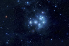 Pleiades in deep space. The Pleiades, or Seven Sisters, is an open star cluster containing middle-aged hot B-type stars located in the constellation of Taurus Stock Photo