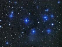 Pleiades för stjärnor för natthimmel öppnar stjärnaklungan M45 i Oxenkonstellation royaltyfri foto
