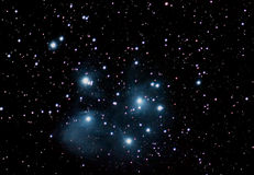 Pleiades Famous Seven Sisters Night sky with stars. Pleiades Famous Seven Sisters Maia, Electra, Taygete, Alcyone, Celaeno, Sterope, Merope Royalty Free Stock Images