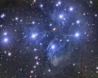 Pleiades. Imaged with a telescope and a scientific CCD camera royalty free stock image