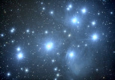 Pleiades M45 nebula. In taurus constellation Stock Photos