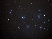 Pleiades (M45) and night sky stars Stock Image
