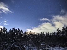 Pleiades open star cluster on night sky and clouds over winter forest royalty free stock photos