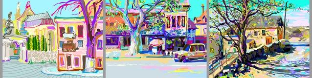 Plein air digital painting of Kamenetz-Podolsky town landscape vector illustration