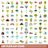100 plein air icons set, flat style Royalty Free Stock Photos