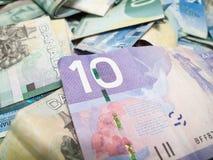 Plein cadre du billet d'un dollar canadien, foyer sur dix Photographie stock libre de droits