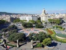 Plein Catalunya in Barcelona, Spanje Panorama van Barcelona Royalty-vrije Stock Afbeelding