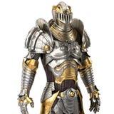 Plein costume médiéval de fer, d'isolement sur un fond blanc illustration 3D Image libre de droits