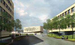 Plein en moderne gebouwen Royalty-vrije Stock Afbeeldingen