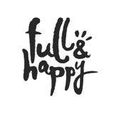 Plein et heureux lettrage de calligraphie Photographie stock