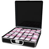 Plein euro d'argent de valise noire élégante Billets de banque de 500 photo libre de droits