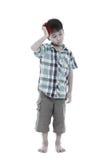 Plein fuselage Le garçon beau asiatique ont un mal de tête D'isolement sur le petit morceau photographie stock