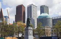 Plein, The Hague, Holland. Statue of William of Orange against background of modern office buildings in The Hague, Holland Royalty Free Stock Images