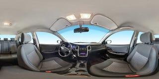 Plein panorama sans couture 360 degrés de vue d'angle dans le salon intérieur de tissu de la voiture moderne de prestige dans équ photo stock