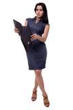 Plein portrait de corps de femme d'affaires dans le regard étonné par robe avec le portfolio, serviette, d'isolement sur le blanc Photographie stock libre de droits
