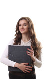 Plein portrait de corps de femme de sourire heureuse d'affaires avec les FO noires Photographie stock libre de droits