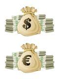 Plein sac avec de l'argent d'euro et de dollar illustration de vecteur
