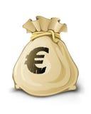 Plein sac avec de l'euro argent d'isolement Photographie stock