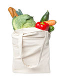 Plein sac d'épicerie avec la nourriture photographie stock