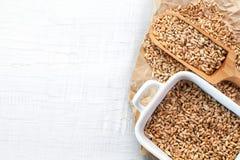 Plein scoop en bois des graines de blé sur le fond en bois blanc Image stock