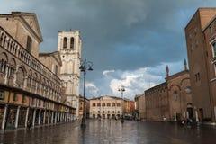 Plein in van de binnenstad van Ferrara stad Stock Foto
