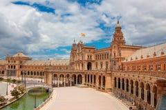 Plein van Spanje Plaza DE Espana, Sevilla, Andalusia, Spanje Stock Fotografie