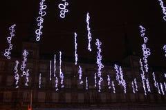 Pleinburgemeester in Madrid met Kerstmisdecoratie royalty-vrije stock afbeelding